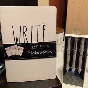 Rae Dunn notebooks and pens